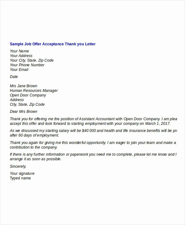 Job Offer Thank You Letter Luxury Thank You Letter for Interview and Job Fer
