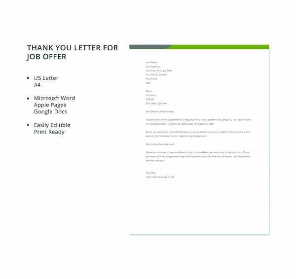 Job Offer Thank You Letter New Job Fer Thank You Letter Template 8 Free Word Pdf