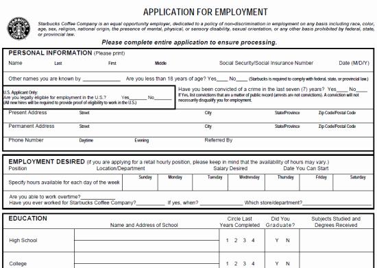 Jobs Application form Pdf Fresh Starbucks Job Application form Pdf