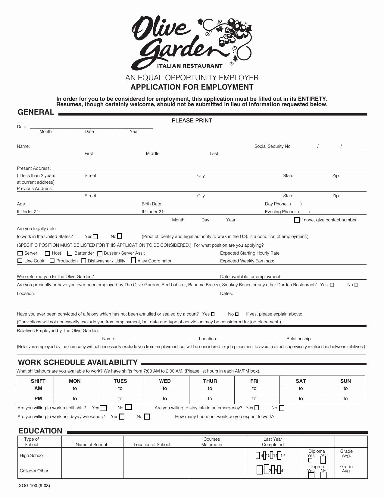 Jobs Application form Pdf Lovely Download Olive Garden Job Application form – Careers
