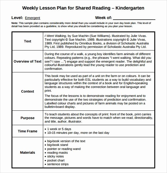 Kindergarten Lesson Plan Template New Guided Reading Lesson Plan Template 8 Download Free