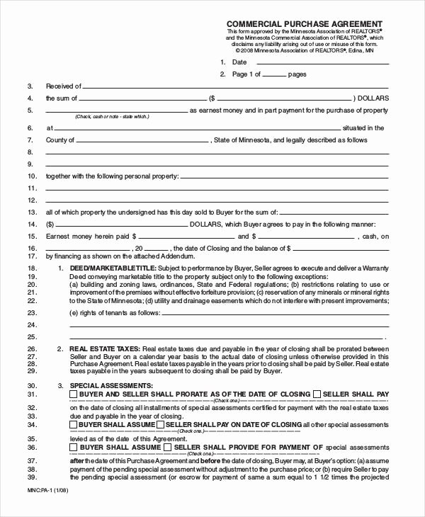 Land Purchase Agreement form Pdf Beautiful Free 22 Free Purchase Agreement forms