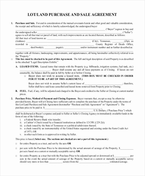 Land Purchase Agreement form Pdf Fresh Free 7 Sample Land Purchase Agreement forms In Pdf