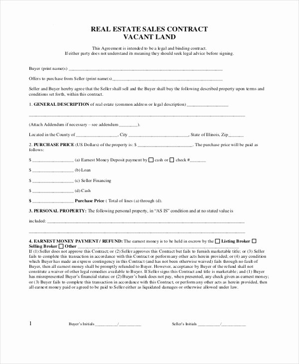 Land Purchase Agreement form Pdf Fresh Sample Real Estate Sales Contract form 8 Free Documents