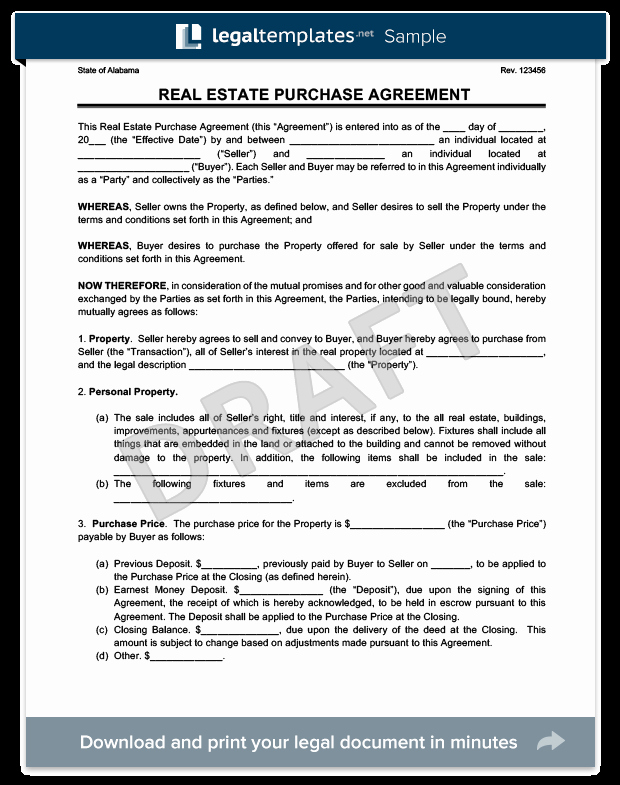Land Purchase Agreement form Pdf Lovely Real Estate Purchase Agreement