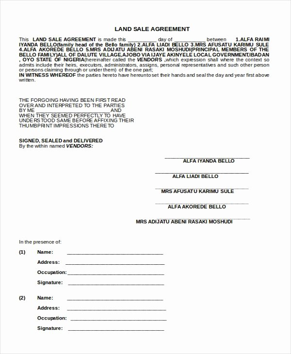 Land Purchase Agreement form Pdf Luxury Free 9 Sample Sales Agreement forms In Pdf