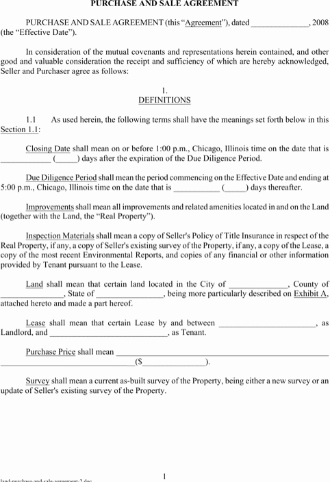 Land Purchase Agreement form Pdf Luxury Land Purchase and Sale Agreement