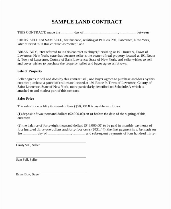 Land Purchase Agreement form Pdf New Simple Land Contract Purchase Agreemen