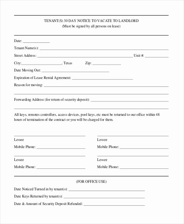 Landlord Notice to Vacate Awesome Free 8 Sample 30 Day Notice to Landlord forms In Pdf