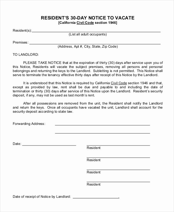 Landlord Notice to Vacate Beautiful 30 Day Notice to Landlord
