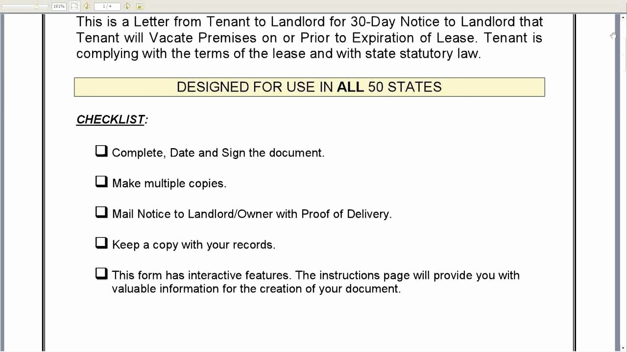 Landlord Notice to Vacate Fresh 30 Day Notice to Landlord that Tenant Will Vacate Premises