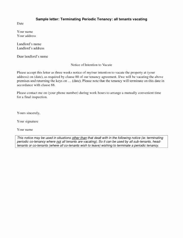 Landlord Notice to Vacate Fresh Landlord Letter to Tenant