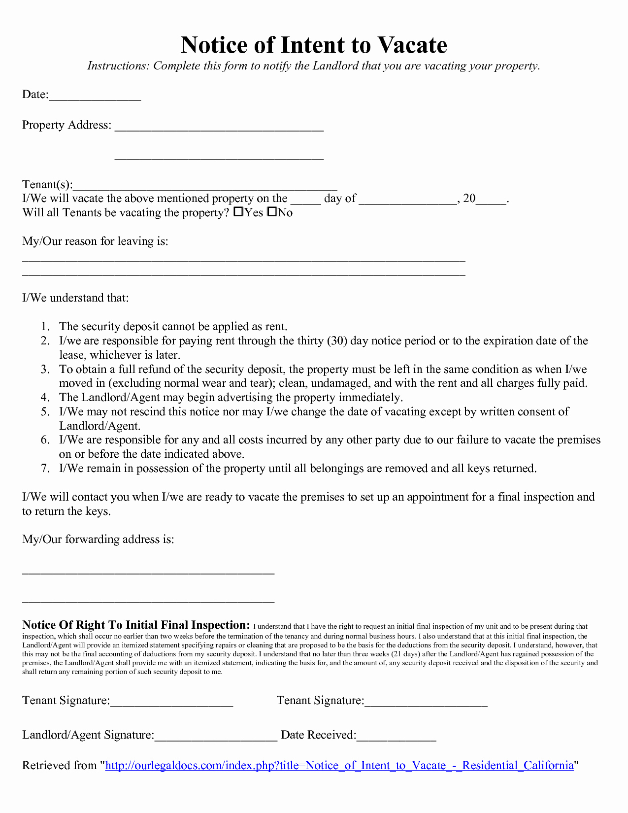 Landlord Notice to Vacate Inspirational Vacate Notice to Landlord Free Printable Documents