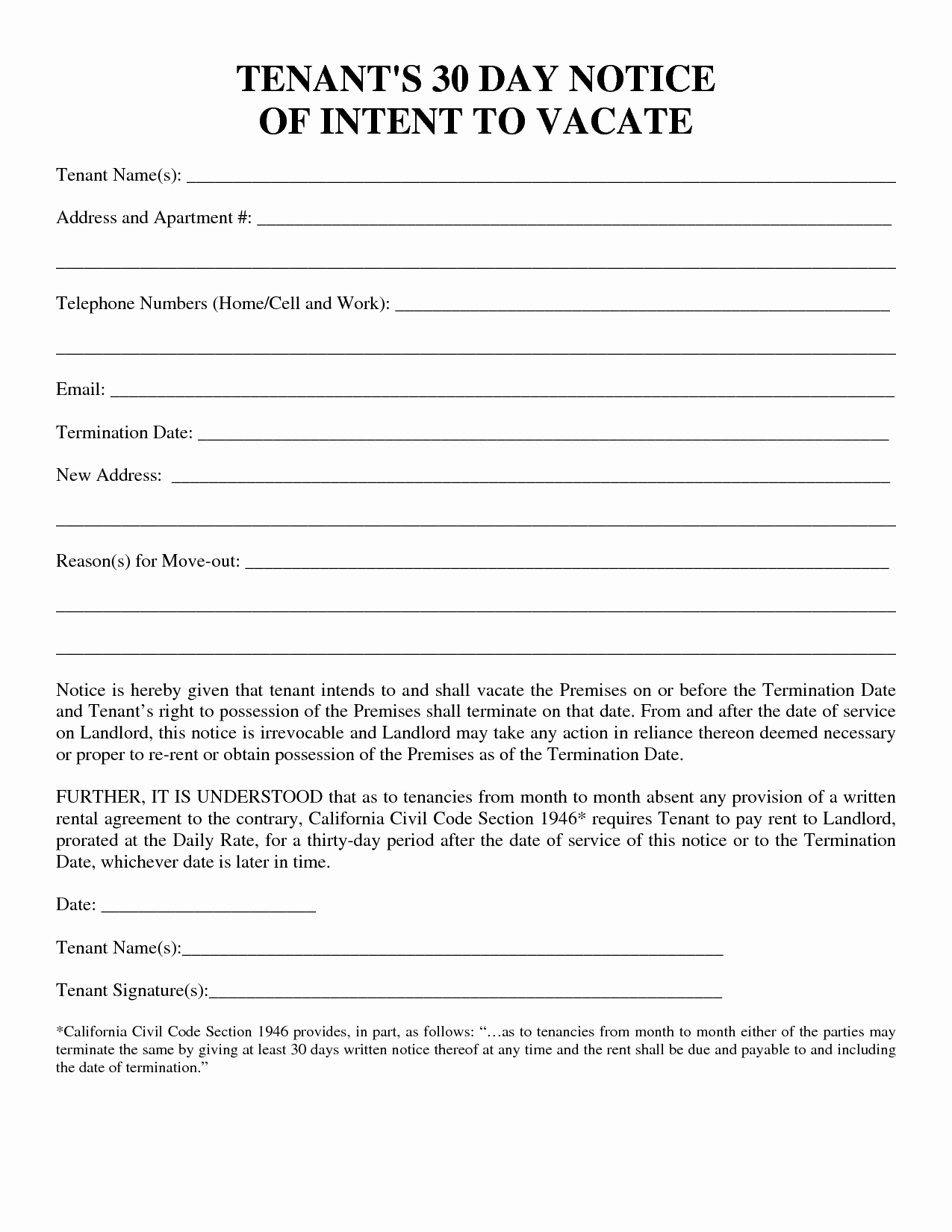 Landlord Notice to Vacate Lovely 30 Day Notice to Vacate Template
