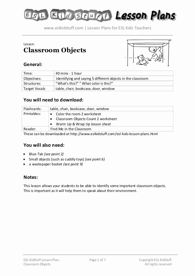 Lesson Plans for toddlers Awesome Classroom Objects Lesson Plan