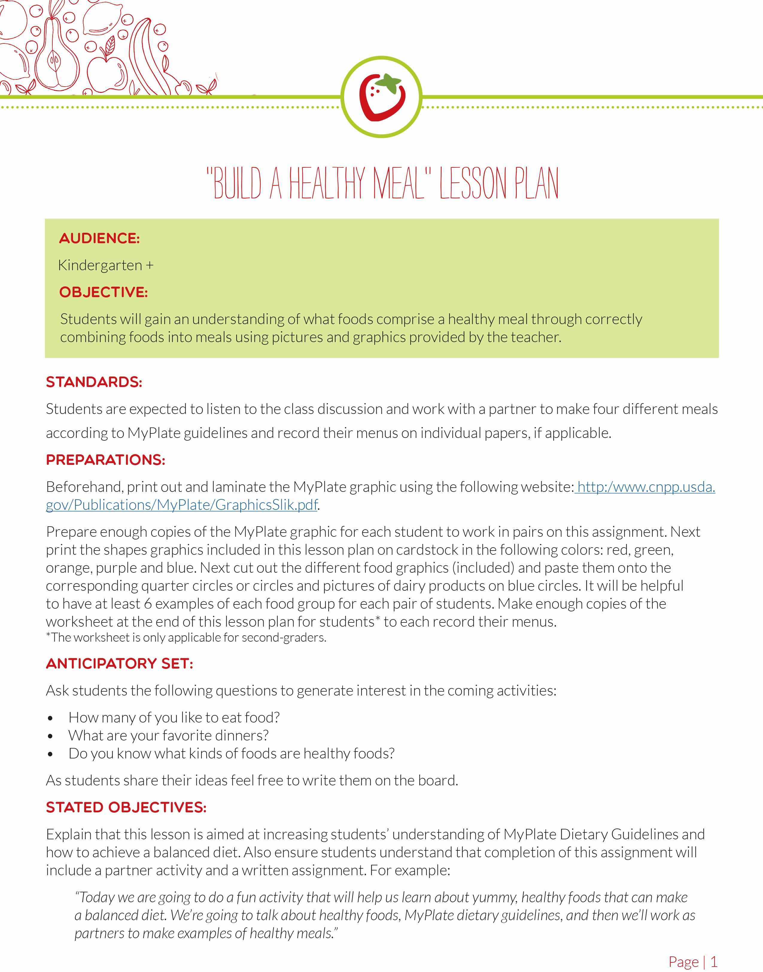 Lesson Plans for toddlers Best Of Myplate Divided Kids Plate with Lesson Plan