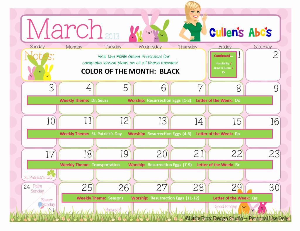 Lesson Plans for toddlers Elegant March 2013 Free Line Preschool Calendar