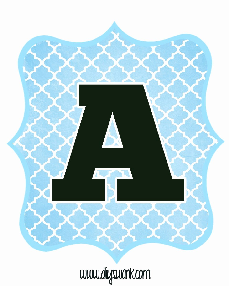 Letter A Printable Awesome Blue and Black Printable Letters for Banners