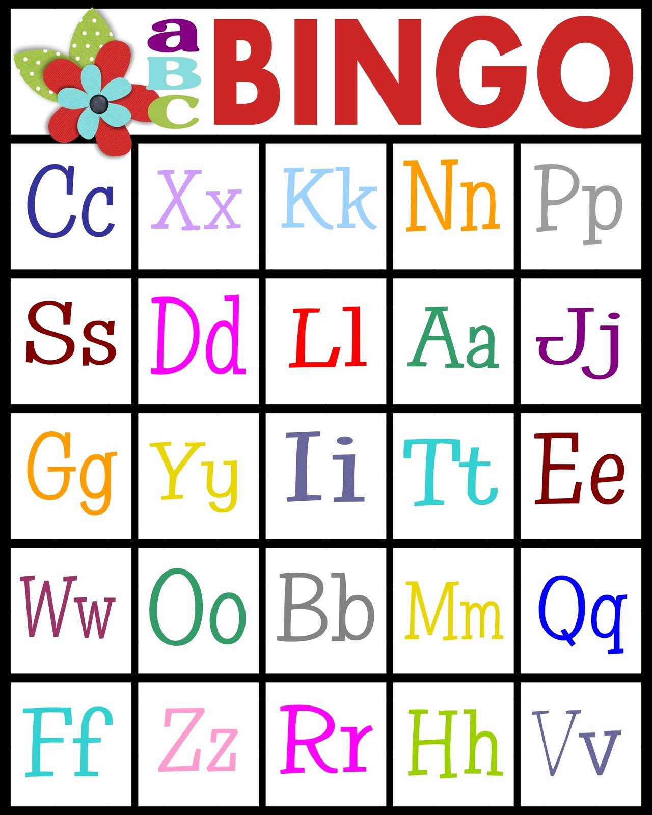 Letter A Printable Inspirational Abc Bingo
