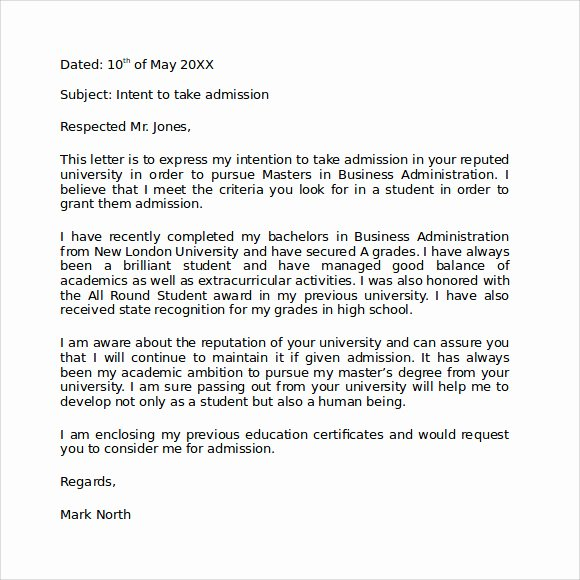 Letter Of Intent for Colleges Luxury Letter Of Intent Graduate School 9 Download Documents