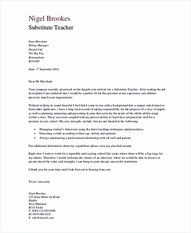 Letter Of Interest Teacher Fresh Substitute Teacher Cover Letter In Pdf