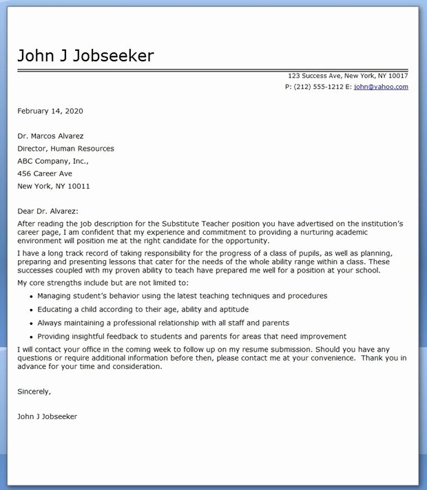 Letter Of Interest Teacher Inspirational Substitute Teacher Cover Letter Examples