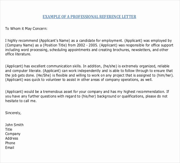 Letter Of Recommendation Templates Word Best Of Reference Letter Templates – 18 Free Word Pdf Documents