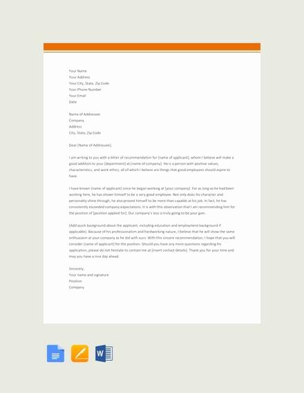 Letter Of Recommendation Templates Word Elegant 28 Letter Of Re Mendation In Word Samples