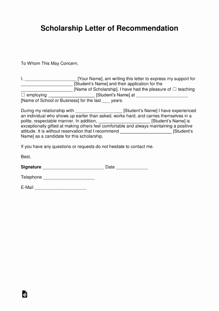 Letter Of Recommendation Templates Word Elegant Free Re Mendation Letter for Scholarship Template with