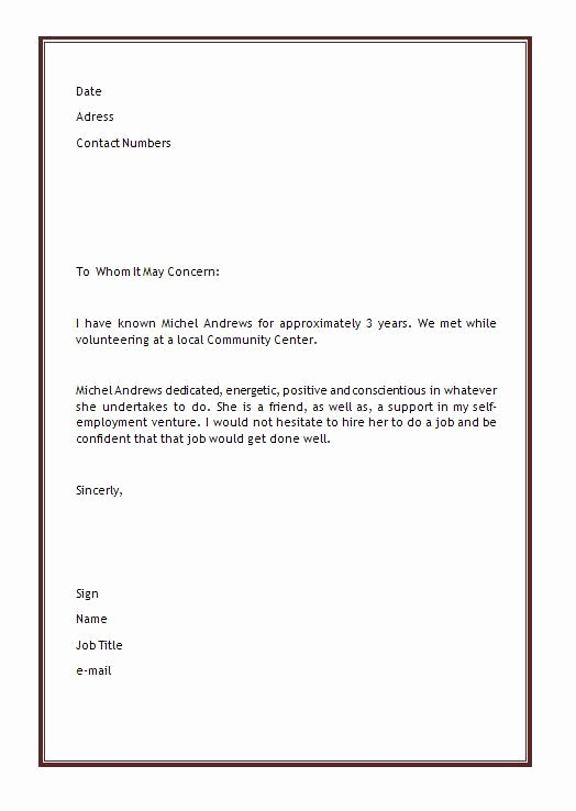 Letter Of Recommendation Templates Word Fresh Personal Letter Of Re Mendation Template
