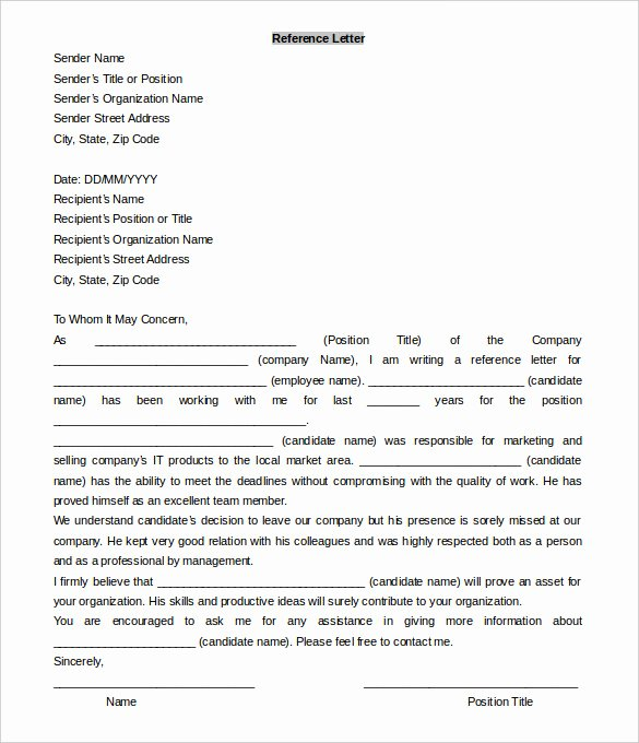 Letter Of Recommendation Templates Word Lovely 42 Reference Letter Templates Pdf Doc