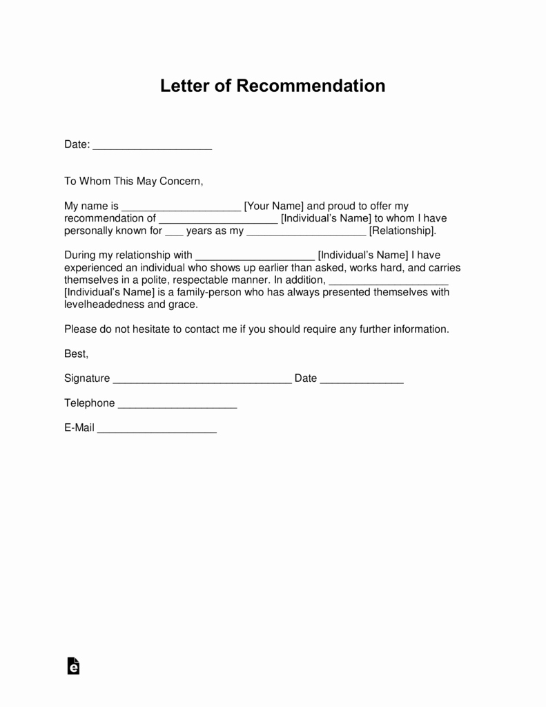 Letter Of Recommendation Templates Word Lovely Free Letter Of Re Mendation Templates Samples and