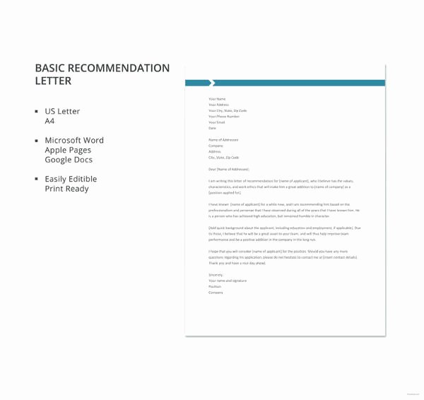 Letter Of Recommendation Templates Word Luxury 27 Letter Of Re Mendation In Word Samples