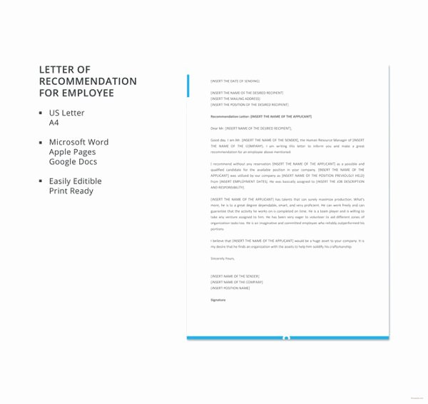 Letter Of Recommendation Templates Word Luxury 30 Re Mendation Letter Templates Pdf Doc