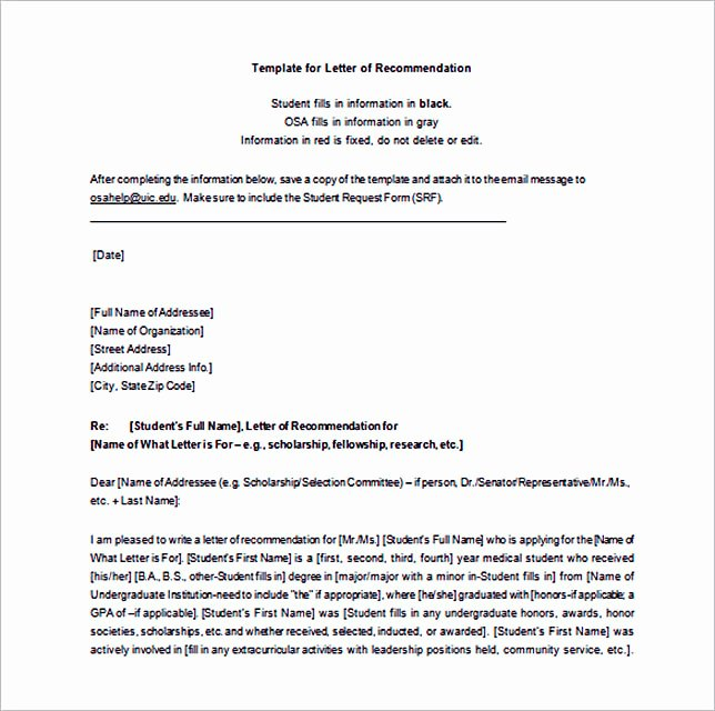 Letter Of Recommendation Templates Word Unique 15 Letter Of Re Mendation format Basic Template to