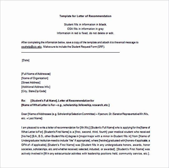 Letter Of Recommendation Templates Word Unique 15 Letter Of Re Mendation format Basic Template to
