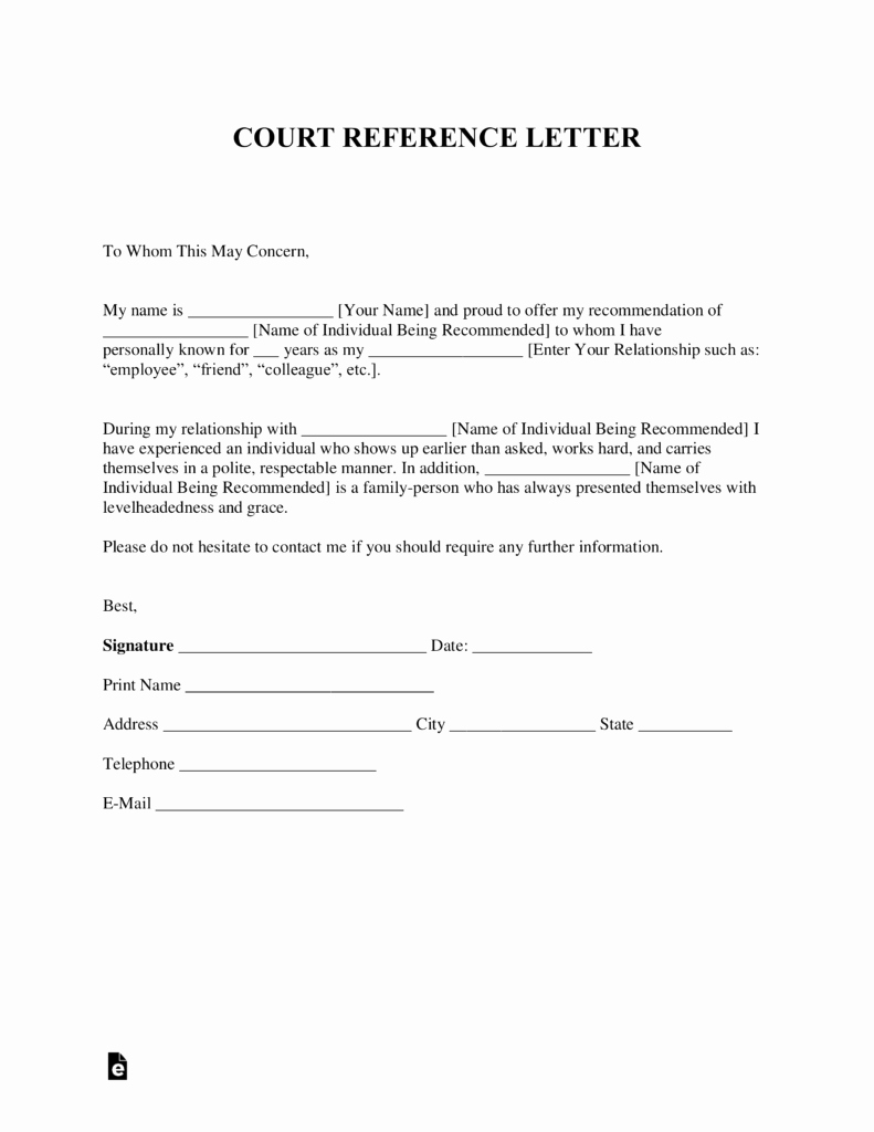 Letter Of Recommendation Templates Word Unique Free Character Reference Letter for Court Template