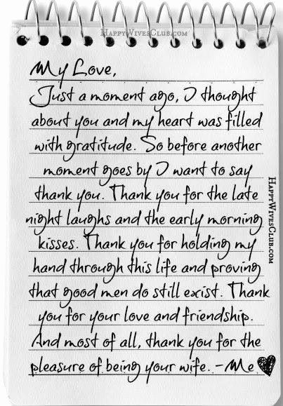 Letter to My Husband Lovely Thank You for the Pleasure Of Being Your Wife