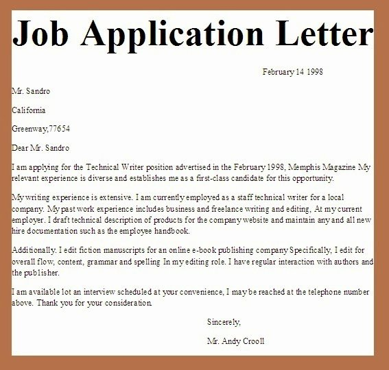 Letters Of Application Examples New Business Letter Examples Job Application Letter