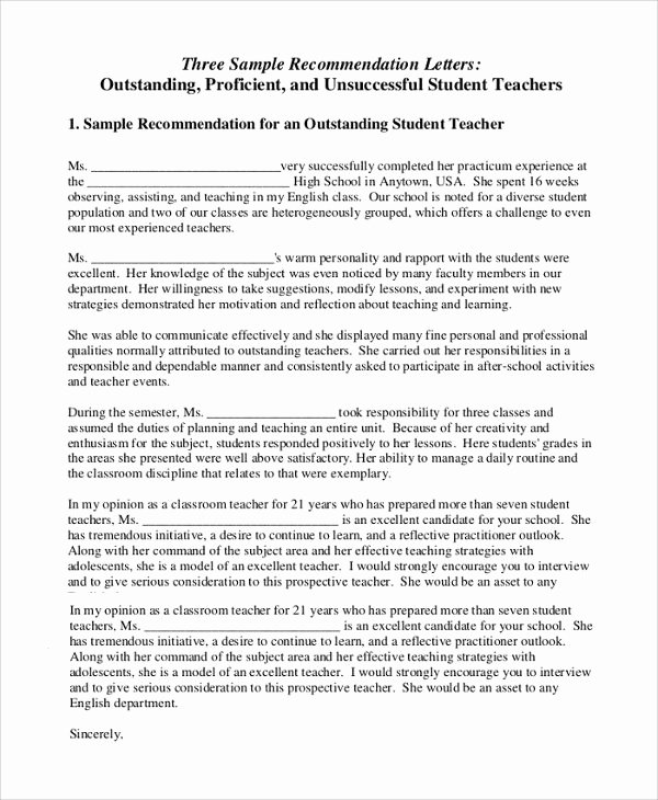 Letters Of Recommendation for Teachers Beautiful Sample Letter Of Re Mendation for Teacher 18