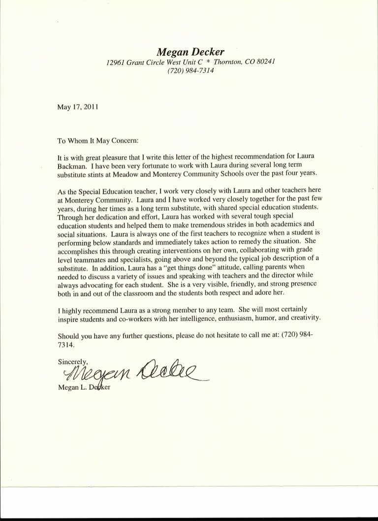 Letters Of Recommendation for Teachers Elegant Letter Of Re Mendation From Special Education Teacher