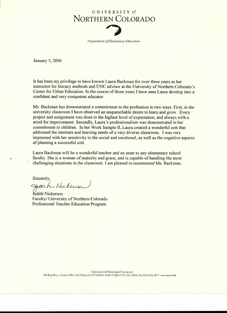 Letters Of Recommendation for Teachers Fresh Letter Of Re Mendation From Judith Nickerson Faculty Of