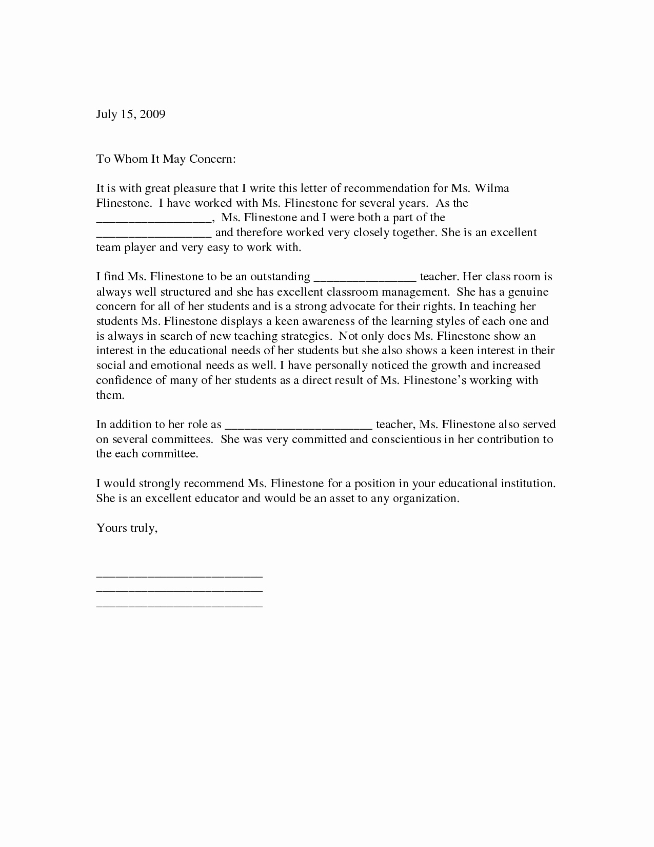 Letters Of Recommendation for Teachers Lovely Sample Letter Of Re Mendation for Teacher
