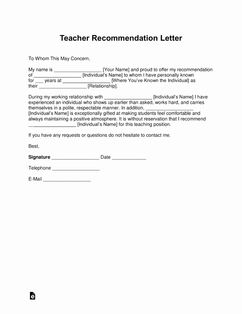 Letters Of Recommendation for Teachers Luxury Free Teacher Re Mendation Letter Template with Samples