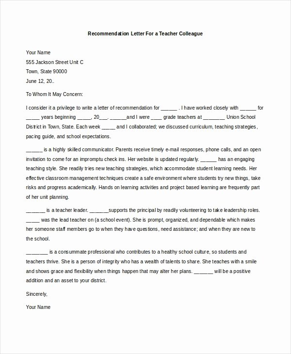 Letters Of Recommendation for Teachers Unique Free 7 Sample Teacher Re Mendation Letters In Pdf