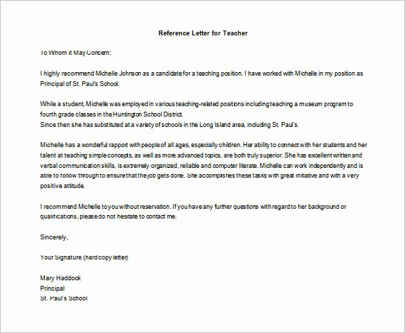 Letters Of Recommendation for Teachers Unique Letter Of Re Mendation for Teacher – 12 Free Word