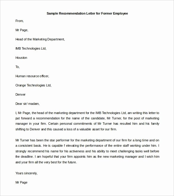 Letters Of Recommendation Template Awesome Re Mendation Letter format