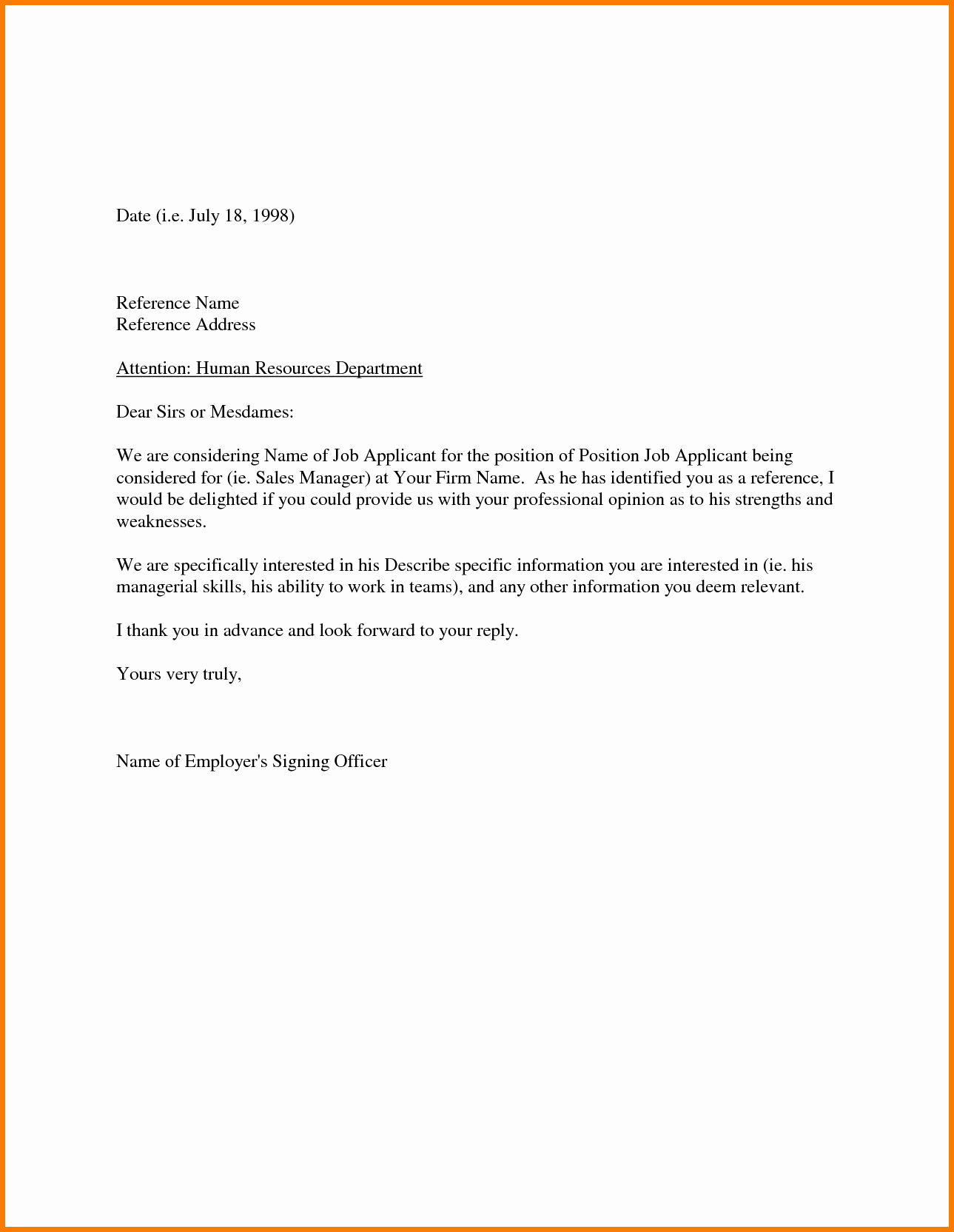 Letters Of Recommendation Template Lovely Sample Re Mendation Letter From Employer Appeal Letters