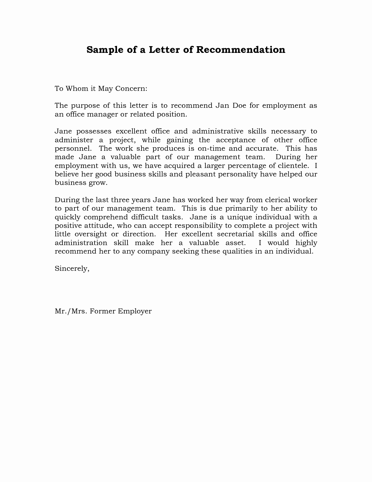 Letters Of Recommendation Template Unique Reference Letter Of Re Mendation Sample