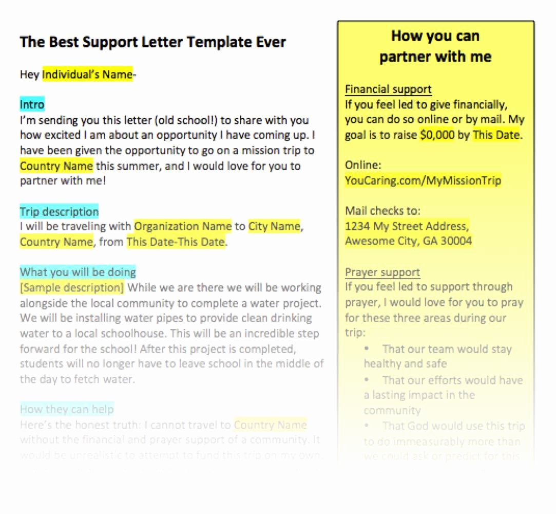 Letters Of Support Templates Awesome Fundraising